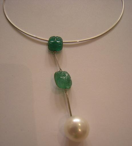 collier perle emeraude - bijouterie saint brieuc