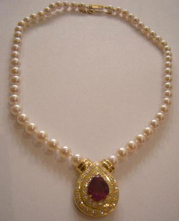 collier perle rubis - bijouterie saint brieuc